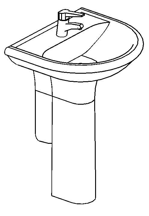 Sink Basin With Pedestal 3D DWG Model for AutoCAD