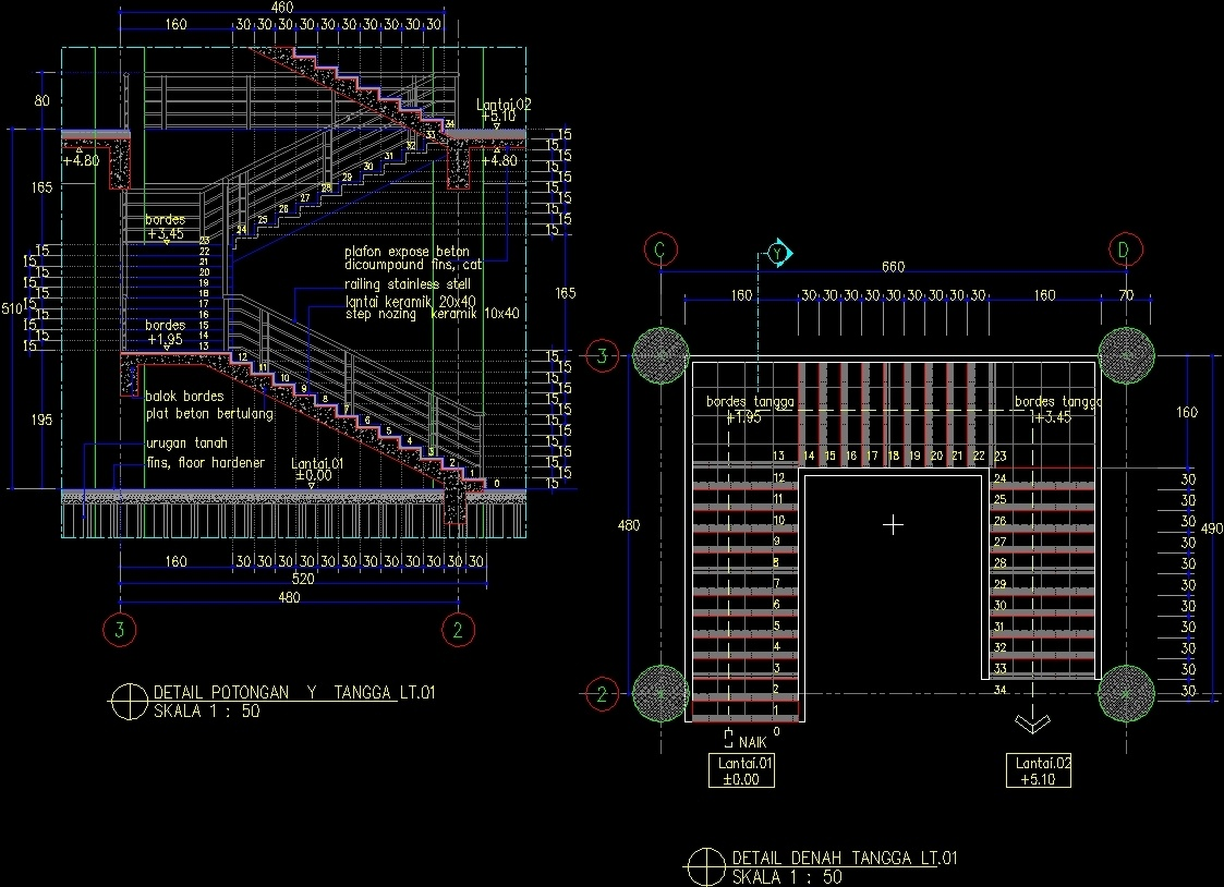 Concrete Stairs  01 DWG Section for AutoCAD  Designs CAD