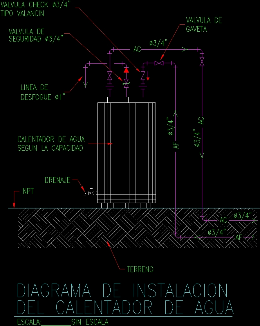 sewer plumbing venting diagram lymph nodes on back of head water heater dwg block for autocad • designs cad