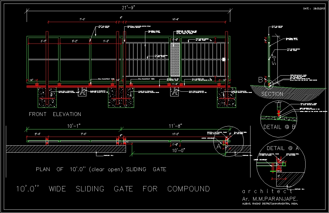 sliding gate 10 x 39 meters in autocad