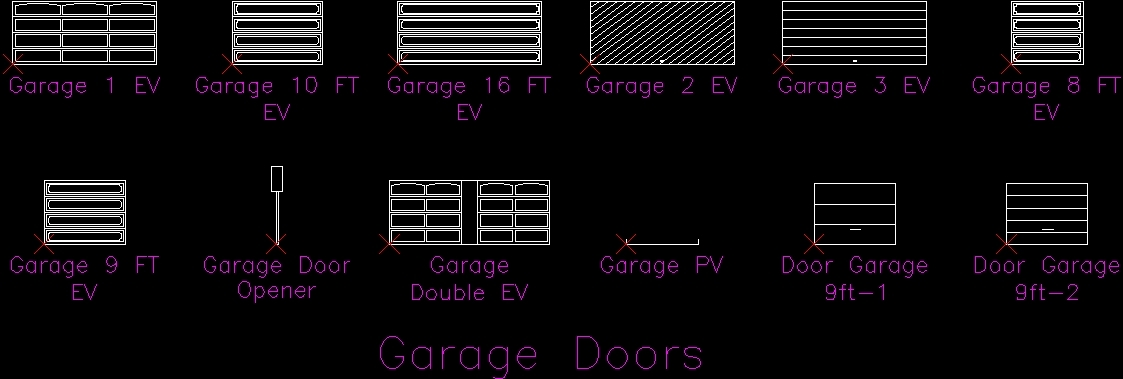 Garage Doors DWG Block For AutoCAD Designs CAD