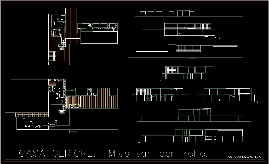 House Gericke Mies Van Der Rohe DWG Section for AutoCAD  Designs CAD