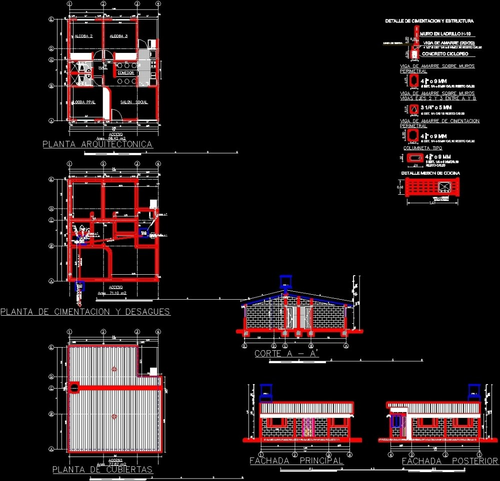 medium resolution of one family housing valencia layout and electrical plans dwg plan