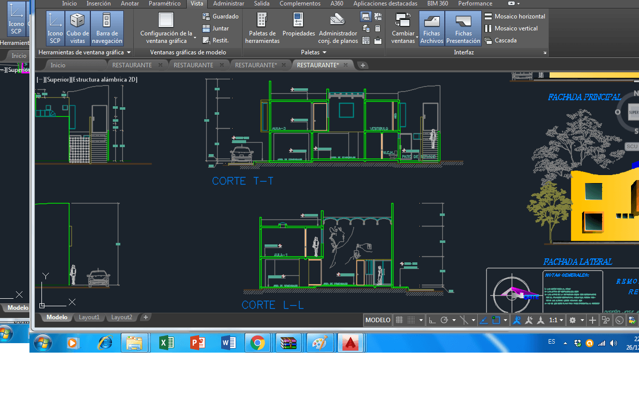 Family Restaurant 2d Dwg Design Section For Autocad