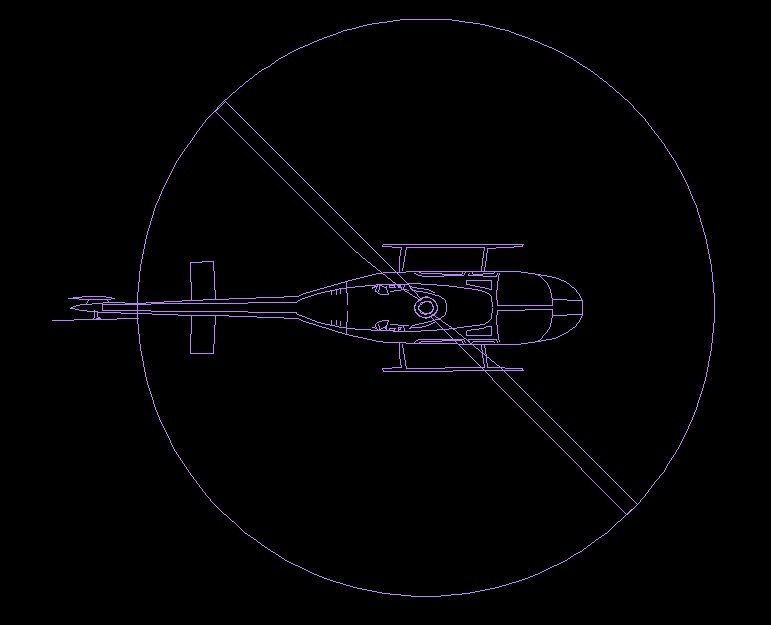 Helicopter Aircraft Top View Plan 2D DWG Block For AutoCAD