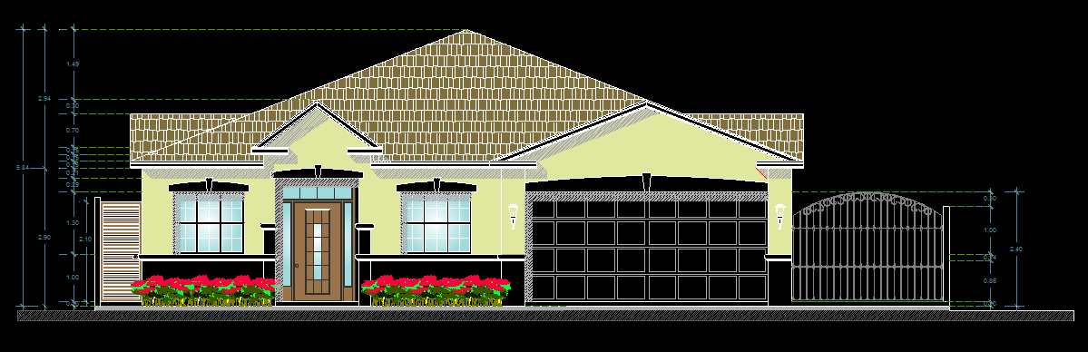 American Style House 2D DWG Plan for AutoCAD  Designs CAD