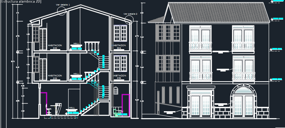 Three Levels Hotel 2D DWG Design Section for AutoCAD  Designs CAD