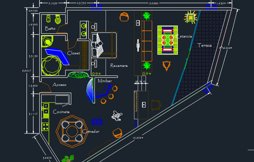 4 Stars Family Hotel With Pool And Parking 2D DWG Design