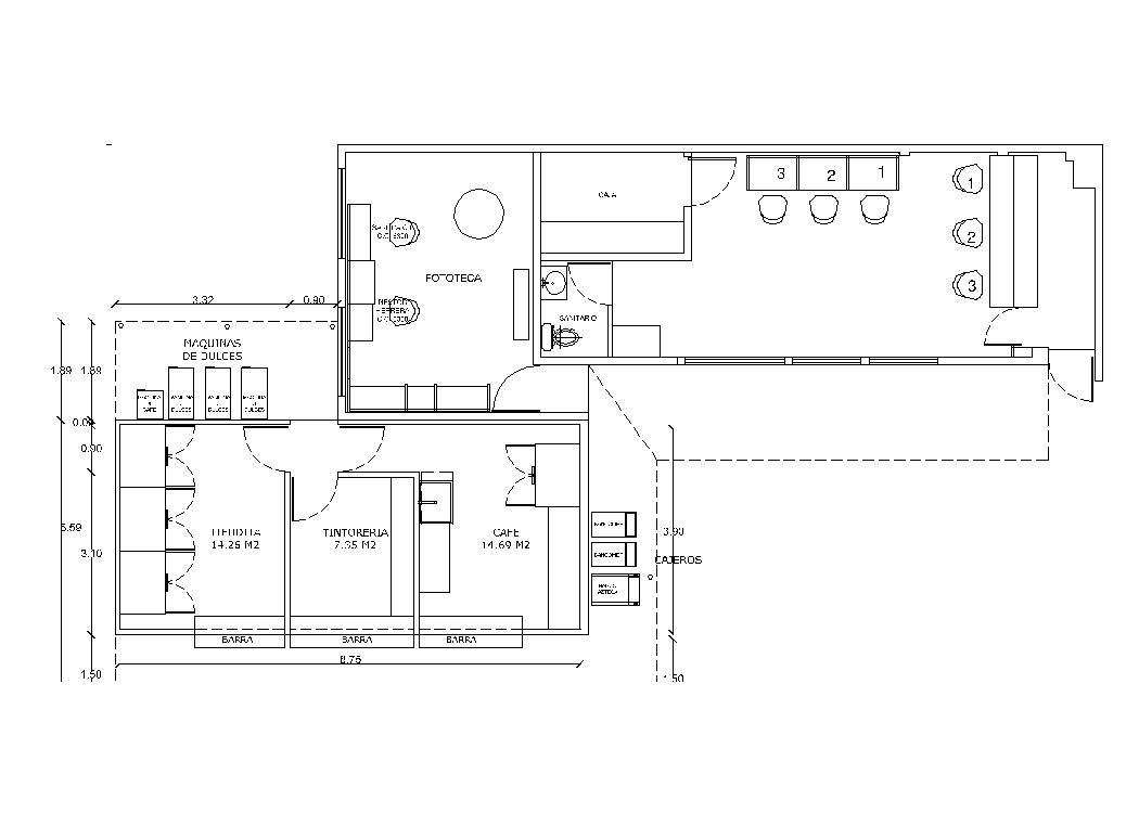 Coffee Bar 2D DWG Plan for AutoCAD
