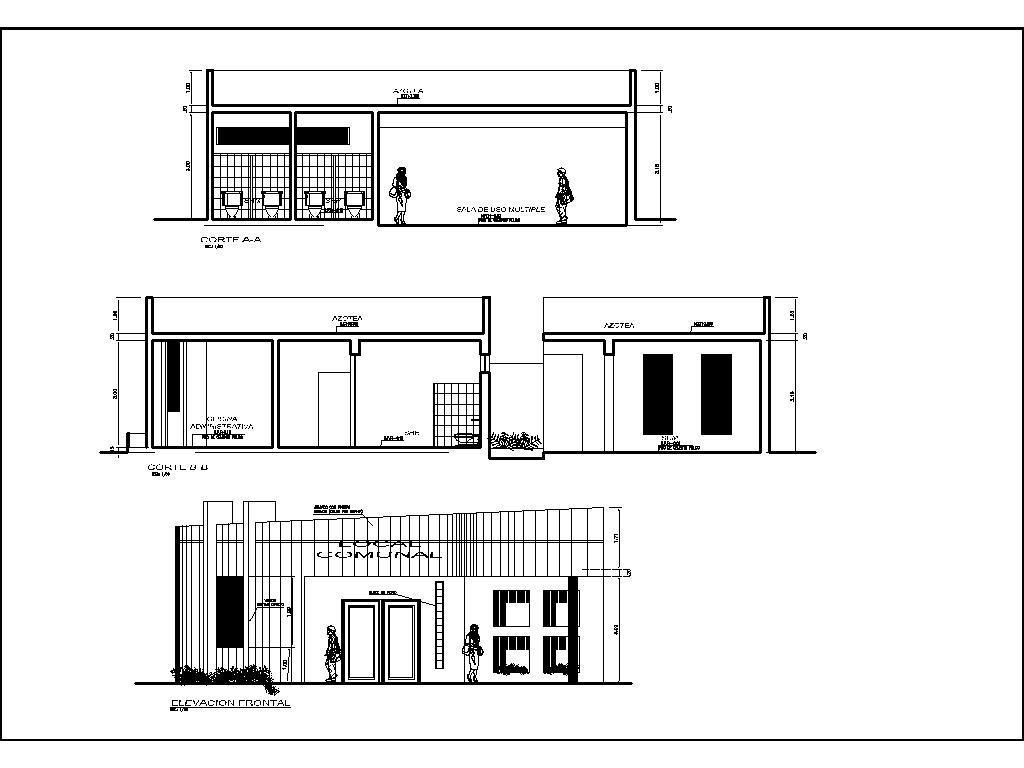 Community Center, Community Hall, Multipurpose Hall 2D DWG