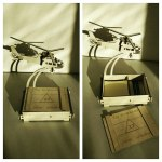 Laser Cut Business Card Holder with Helicopter DXF File
