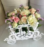 Laser Cut Carriage Flower Stand Free Vector