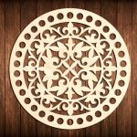 Laser Cut Flower Bottom Circle Wooden Base For Crochet Basket DXF File