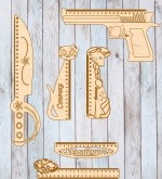 Laser Cut Retro Shaped Wooden Rulers Free Vector