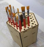 Laser Cut Wooden Paint Brush Holder Free Vector