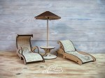Laser Cut Wooden Sun Loungers With Umbrella Free Vector
