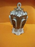 Laser Cut Islamic Wooden Ramadan Lantern Free Vector