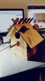 Laser Cut Slat Roof Wood Birdhouse Free Vector