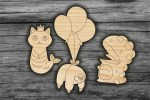 Laser Cut Wooden Magnets Icons Free Vector