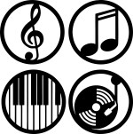 Music Circle Labels Free Vector