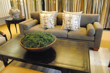 Great use of moss in the Rose Tarlow showroom
