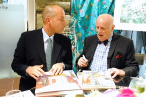 Harry Heissmann and Jeremiah Goodman in the Stark Fabric showroom