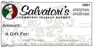 Salvatori's initial paper gift certificates (individually numbered)