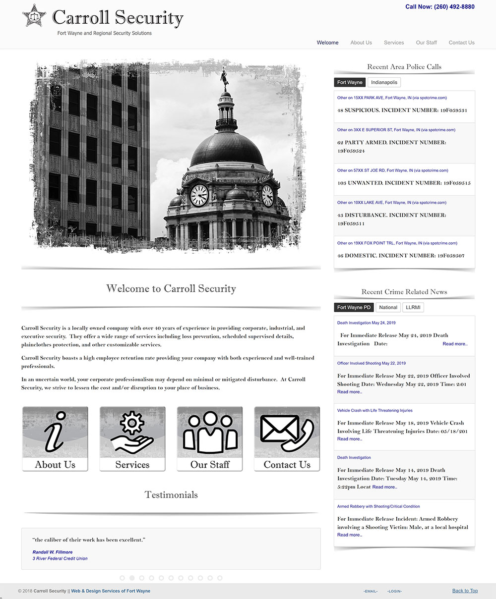 Screenshot of Carroll Security website