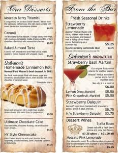 Salvatori's Beverage/Dessert Menu bi-fold
