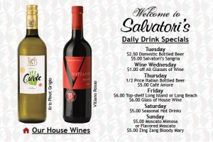 Salvatori's Beverage/Dessert Menu drink specials