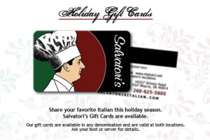 Salvatori's Beverage/Dessert Menu gift card promotion
