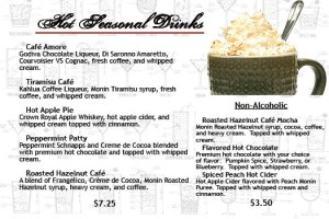 Salvatori's Beverage/Dessert Menu seasonal drinks