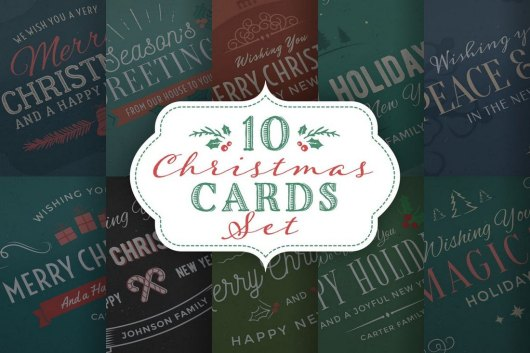 10 Christmas Cards & Backgrounds Set