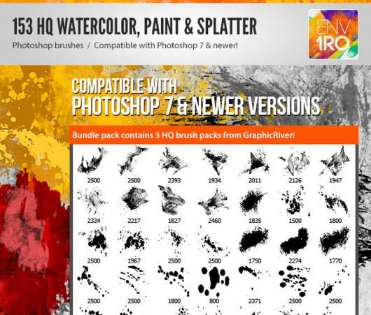 153 Watercolor Paint & Splatter Photoshop Brushes
