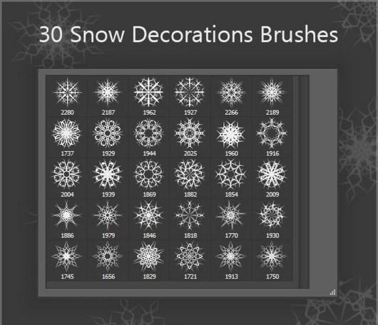 30 Snow Decorations Brushes