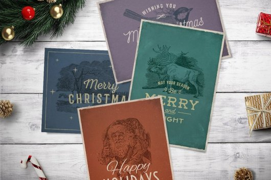 4 Vintage Christmas Cards Templates