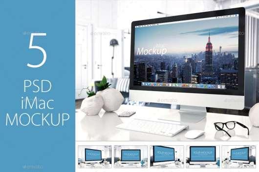 5 iMac Mockup PSD Templates