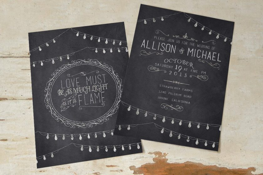 A Chalkboard Wedding Invitation Pack And Thank You Card Includes Front Back Directions To The Venue Reception Information Rsvp