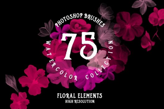 75 Photoshop Watercolor Brushes Collection