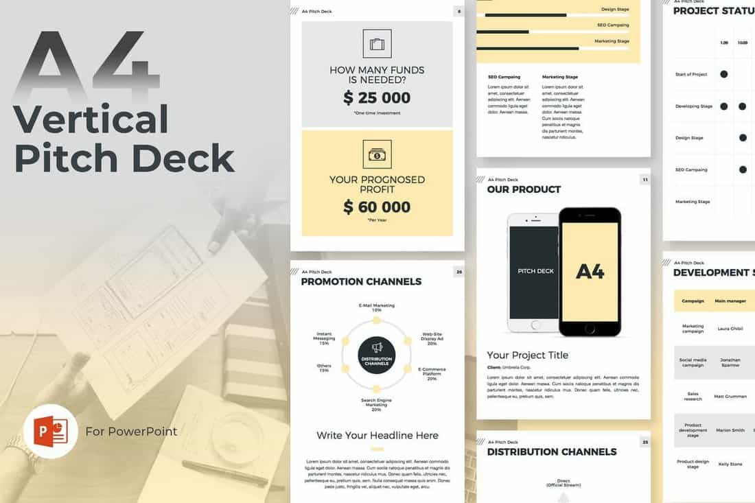 A4 Vertical - Startup Pitch Deck Template For PowerPoint