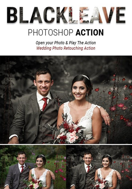 BLACK LEAVE - Special Effects Wedding Photoshop Action