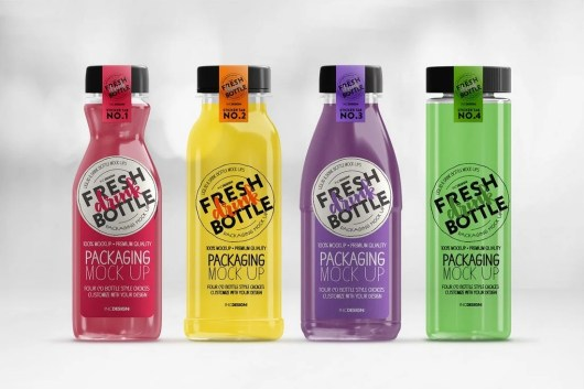 Bottled Juice Smoothies Packaging Mockup