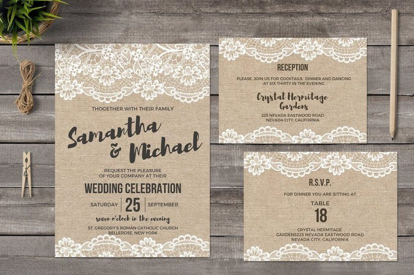 Add A Natural Style And Design To Your Wedding Invites With This Template Pack It Es Invite Card Reception Table Rsvp