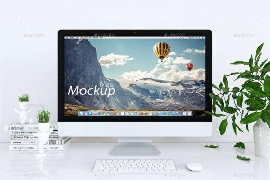 Clean iMac Mockup White Background