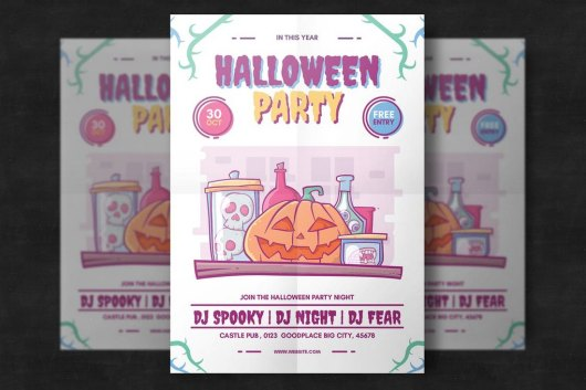 Colorful Halloween Party Flyer Template