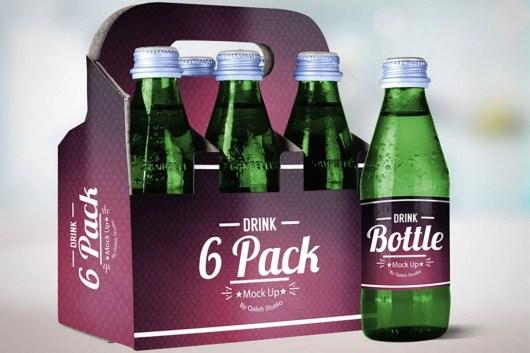 Drink Bottle & 6 Pack Mockup V.2