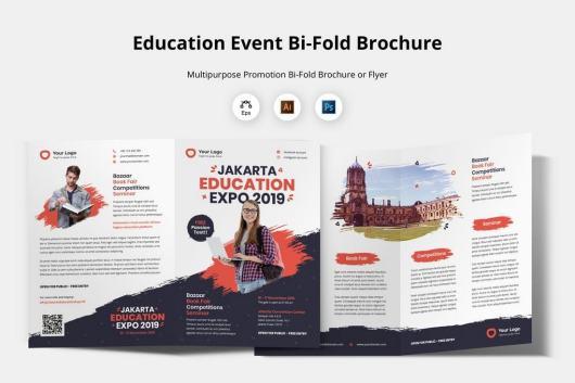Education Event Bi-Fold Brochure Template