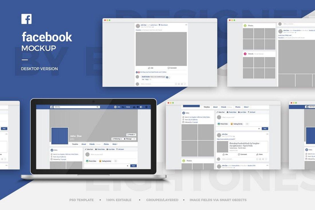 Facebook Desktop Mockup Template
