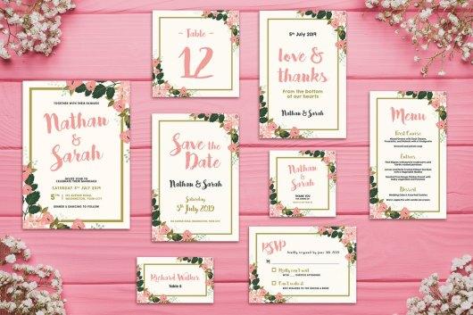Floral Wedding Invitations Bundle