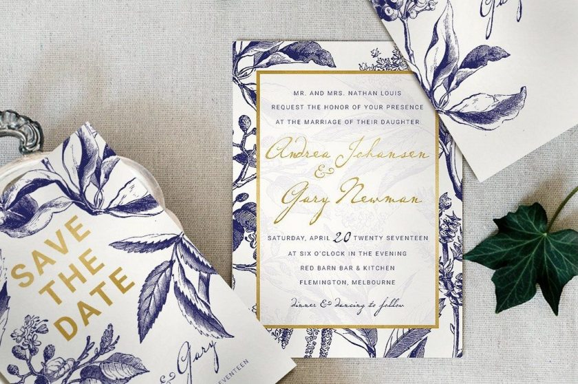 Gold Navy Wedding Invitation